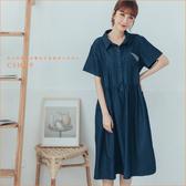 洋裝 造型口袋格紋牛仔棉麻洋裝 二色-小C館日系