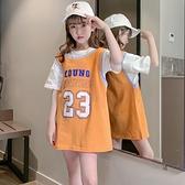 女童短袖t恤中長款夏裝純棉大童洋氣運動兒童夏季上衣2021新款潮8 幸福第一站