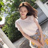 謎秀針織t恤女夏裝新款韓版修身氣質蕾絲無袖內搭體恤上衣潮   芊惠衣屋