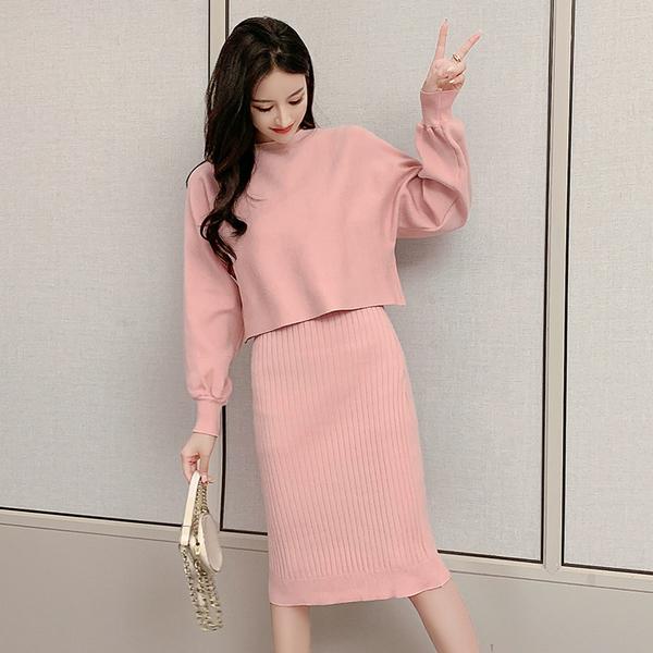 VK旗艦店 韓國風針織衫純色氣質套裝長袖裙裝