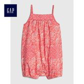 Gap女嬰兒 純棉印花吊帶無袖一件式包屁衣 467882-熒光粉