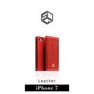 【G2 STORE】SLG iPhone 7 Plus D5 CSL 帆布混搭風 真皮側掀皮套 - 紅色