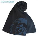 DIESEL新款時尚素面龐克頭LOGO圍巾(深藍色)381001-1