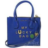 茱麗葉精品 全新精品  MICHAEL KORS 限量 水鑽英文字雙隔層 手提 兩用包.藍