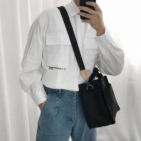 帆布包黑白帆布斜背包手提側背多口袋韓繫簡約潮男女情侶挎包