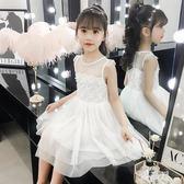 女童洋裝2019小女孩夏季洋氣紗裙演出服兒童裝白色公主裙子TA9487【雅居屋】
