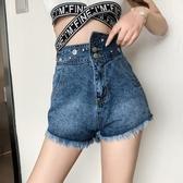 高腰藍色牛仔短褲女個性bf不規則潮2019春夏新款韓版直簡熱褲顯瘦
