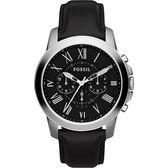 FOSSIL Grant 旗艦三眼計時復刻腕錶/手錶-黑/44mm FS4812IE