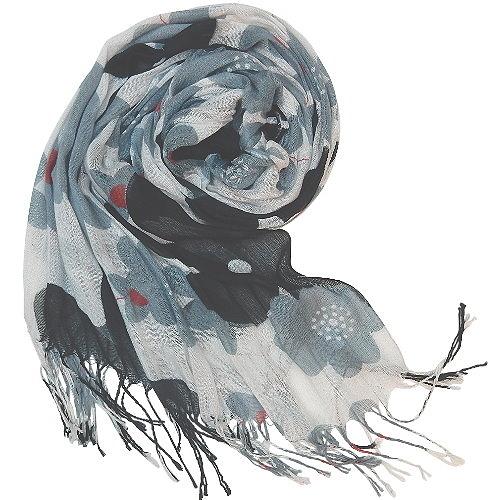 【波克貓哈日網】日系流行圍巾◇FEMME DE CRUSE◇《米白底黑灰花朵》