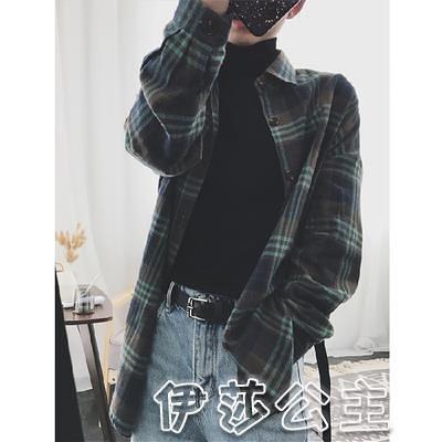 格子衫 官圖 秋春冬韓版寬鬆復古港味長袖襯衣格子襯衫外套女設計感小眾-17