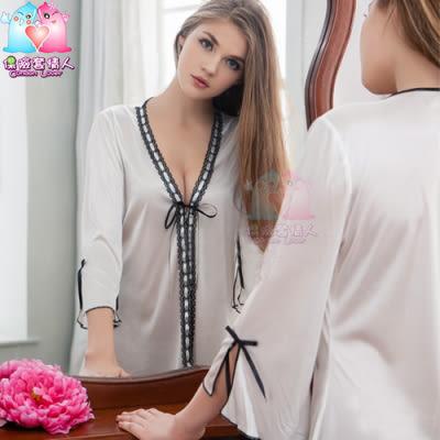 【愛愛雲端】性感睡衣 情趣用品 大尺碼 緞帶飾邊 奶白 柔緞 二件式 罩衫 丁褲組 NY14020010