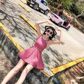 游泳衣女連體裙式保守顯瘦遮肚性感小胸韓國平角泳衣泡溫泉小香風