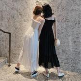 洋裝 韓版 細肩帶海邊度假沙灘長裙 連身裙 花漾小姐【現+預】