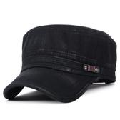 卡車帽新品正韓春四季時尚男士軍帽防曬遮陽帽做舊水洗平頂帽 快速出貨