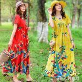 大碼印花洋裝夏季新款原創女裝民族風復古寬鬆V領短袖連衣裙  AB5408 【男人與流行】