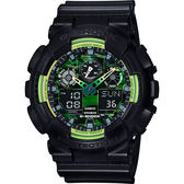 CASIO 卡西歐 G-SHOCK 炫彩運動腕錶-青檸綠x黑/48mm GA-100LY-1ADR / GA-100LY-1A