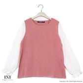 【INI】氣質實穿、荷葉袖條紋雪紡上衣.粉色