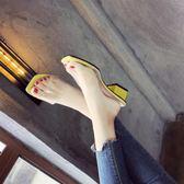 拖鞋女夏季新款韓版百搭外穿時尚一字透明水晶涼拖鞋子中粗跟
