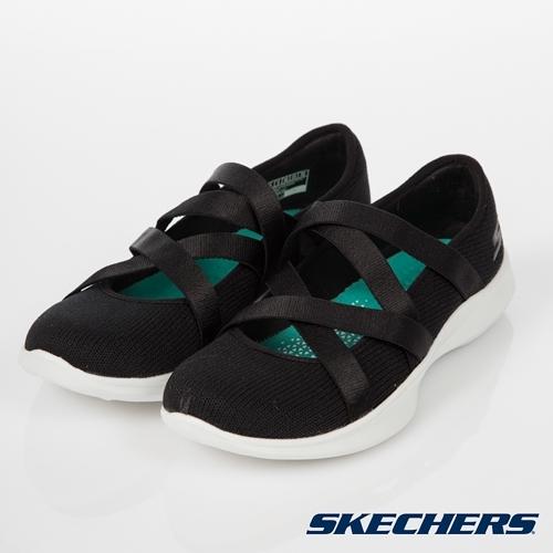 SKECHERS Serene Elation 黑 繃帶 交叉 類芭蕾舞鞋 女 15847BKW ☆SP☆