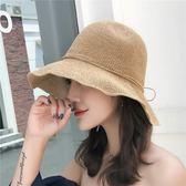 遮陽帽子女草帽手工日本拉拉可折疊夏天防曬漁夫帽出游沙灘太陽帽
