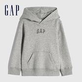 Gap男幼童 Logo亮色碳素磨毛絨連帽休閒上衣 618791-灰色