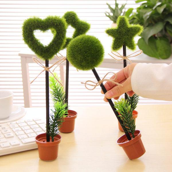 【00014】 盆栽造型原子筆 綠色植物創意文具 辦公室療癒小物 桌面造景