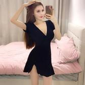 夏裝新款性感低胸V領短袖高腰荷葉邊彈力黑色緊身開叉包臀連衣裙