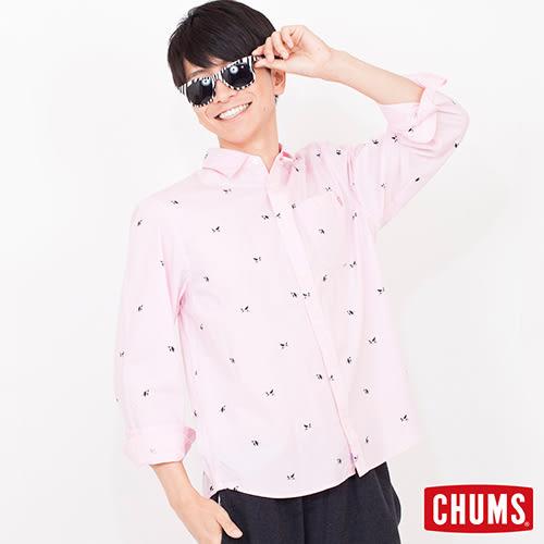 CHUMS 日本 男 Booby 印花風格 長袖襯衫 粉紅 CH0205587544