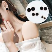 雙十二  韓國鈦鋼黑色耳釘女氣質個性簡約圓形耳環歐美迷你小巧耳飾品潮人  無糖工作室