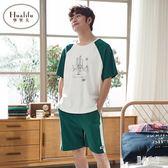 男士短袖睡衣 夏季棉質薄款寬鬆大碼青年全棉可外穿家居服套裝 BT4101『男神港灣』