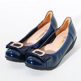 ★新品上市★GREEN PINE 優雅方釦鑽飾楔型娃娃鞋-藍色
