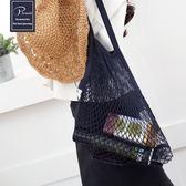 透明鏤空網眼海邊沙灘袋手提網格游泳袋購物收納漁網包網兜編織包 K-shoes