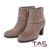 TAS 玫瑰針織蕾絲燙鑽反折高跟短靴-質感可可