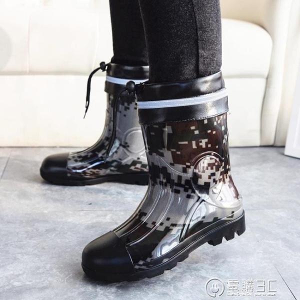 男士雨鞋馬丁迷彩短筒雨靴中筒加絨棉戶外釣魚防滑防水鞋膠鞋 聖誕節免運
