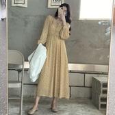 法式連衣裙女春秋裝復古優雅氣質溫柔風V領長袖收腰顯瘦碎花長裙 【快速出貨】