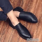 懶人皮鞋夏季一腳蹬繫糕皮鞋內增高懶人鞋商務休閒鞋透氣夜店鞋男 花樣年華