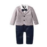 鋪棉連身衣 保暖 超厚 西裝外套 假三件 男寶寶 爬服 哈衣 小紳士 小花童 Augelute Baby 60337