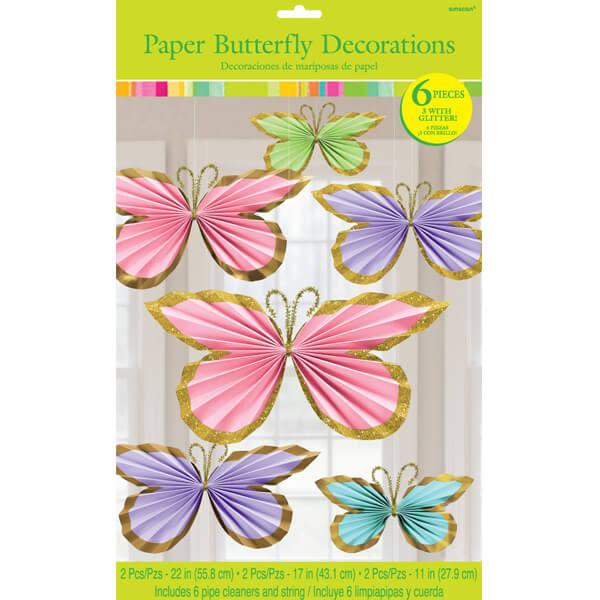 春天 裝飾 扇形吊飾6入-蝴蝶