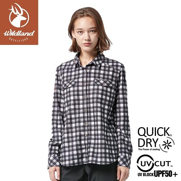 【Wildland 荒野 女 彈性針織格紋保暖襯衫《黑》】0A82203/休閒服/格紋衫/運動衣/薄外套