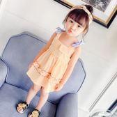 女童夏季洋裝兒童露肩吊帶裙子寶寶公主裙小女孩純棉夏