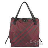 茱麗葉精品 全新精品 BURBERRY 40330821 經典斜格紋尼龍帆布大購物包.暗紅