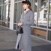 Poly Lulu 簡約率性翻領綁帶條紋罩衫-黑白【93090050】