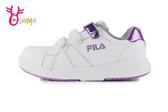 FILA 中大童 防潑水 經典小白鞋 足弓機能鞋 休閒運動鞋 P7653#白紫◆OSOME奧森鞋業