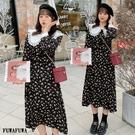 (現貨+預購 FUWAFUWA)--加大尺碼田園風娃娃領碎花雪紡長袖洋裝