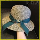 【快樂購】帽子女遮陽帽防曬小蜜蜂草帽涼帽女太陽帽草帽女天沙灘帽折疊