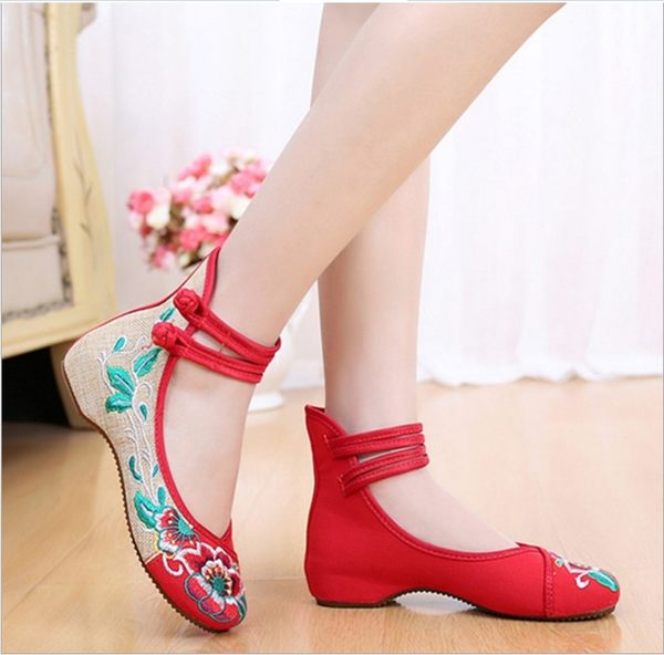 新款芙蓉花 亞麻牛筋底內增高老北京布鞋 民族風舞蹈女單繡花鞋  Cocoa