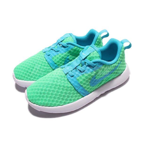 Nike 休閒慢跑鞋 Roshe One Flight Weight PSV 綠 藍 白底 運動鞋 中童鞋【PUMP306】 819694-303