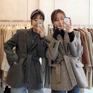 Qmigirl 韓版千鳥格 系帶西裝 寬鬆毛料外套【T2253】