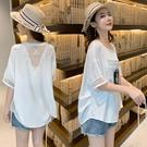 全場促銷95折 夏女短袖襯衫t恤貼布蕾絲寬松圓領ins小心機網紗露背上衣洋氣