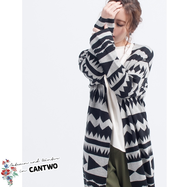 CANTWO幾何圖騰長版針織罩衫(共二色)